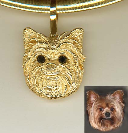 Yorkiehedxlblkdiag yorkie pendant this head study is priced with fine black diamond eyes lots of extreme detail aloadofball Choice Image
