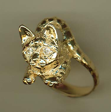 Kitty Wrap Around Ring 14k Heavy Solid Gold With Citrine